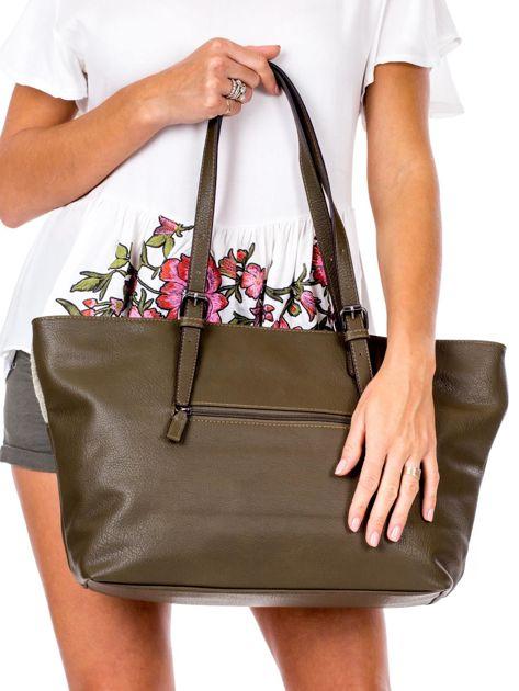 Khaki torba shopper z materiałową wstawką                              zdj.                              4
