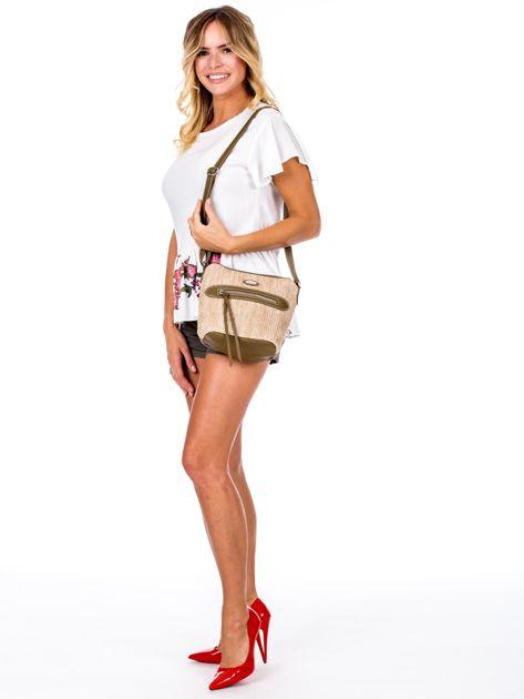 Khaki torebka damska z plecionym modułem                              zdj.                              5