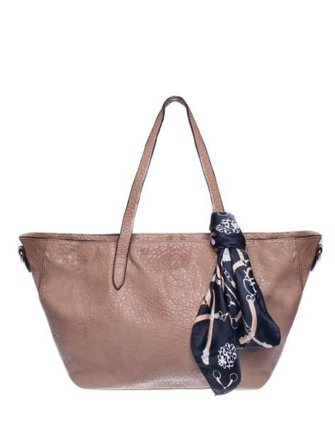 Khaki torebka shopper bag z apaszką                                  zdj.                                  1