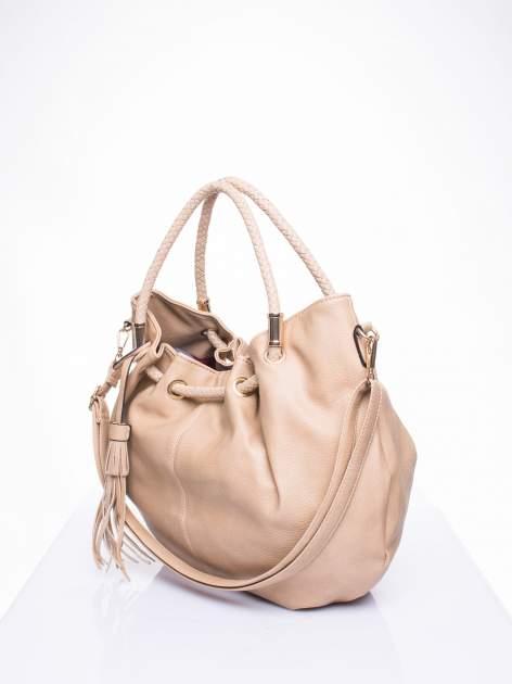 Khaki torebka z plecionymi uchwytami i frędzlami                                  zdj.                                  2
