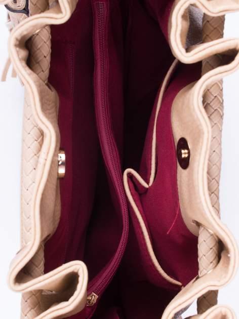 Khaki torebka z plecionymi uchwytami i frędzlami                                  zdj.                                  4