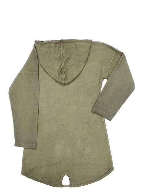 Khaki tunika dla dziewczynki z kapturem i napisem                              zdj.                              6