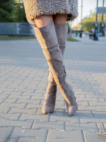 Khaki zamszowe kozaki faux suede na szpilkach za kolano