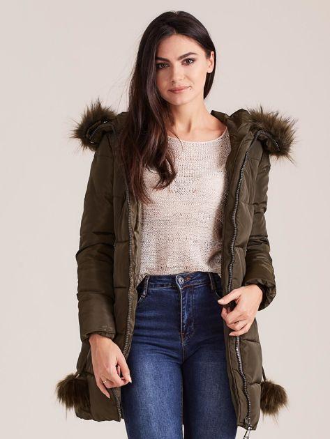 Khaki zimowa kurtka damska z futerkiem                              zdj.                              6