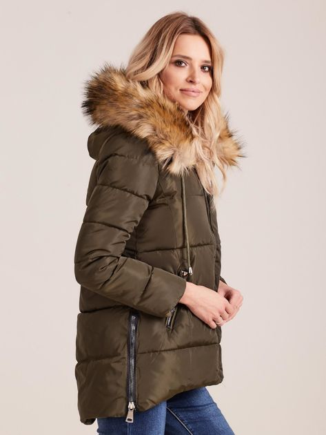 Khaki zimowa kurtka z futerkiem                              zdj.                              3