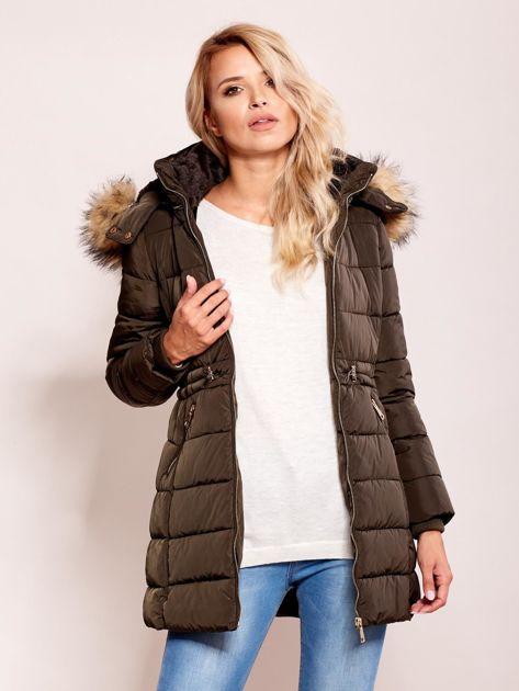 Khaki zimowa kurtka z kapturem                              zdj.                              6