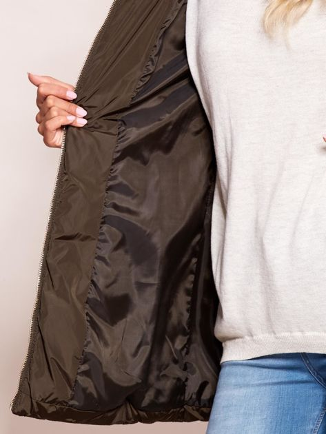 Khaki zimowa kurtka z kapturem                              zdj.                              7