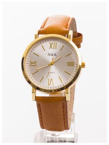 Klasyczny damski zegarek. Elegancki i czytelny cyferblat. Brązowy skórzany pasek
