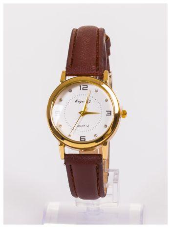 Klasyczny damski zegarek z ozdobnymi cyrkoniami na tarczy                                  zdj.                                  1