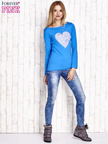 Kobaltowa bluzka z materiałową wstawką                                  zdj.                                  2
