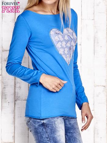 Kobaltowa bluzka z materiałową wstawką                                  zdj.                                  3
