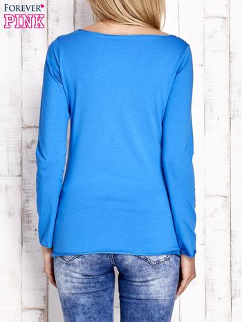 Kobaltowa bluzka z materiałową wstawką                                  zdj.                                  4