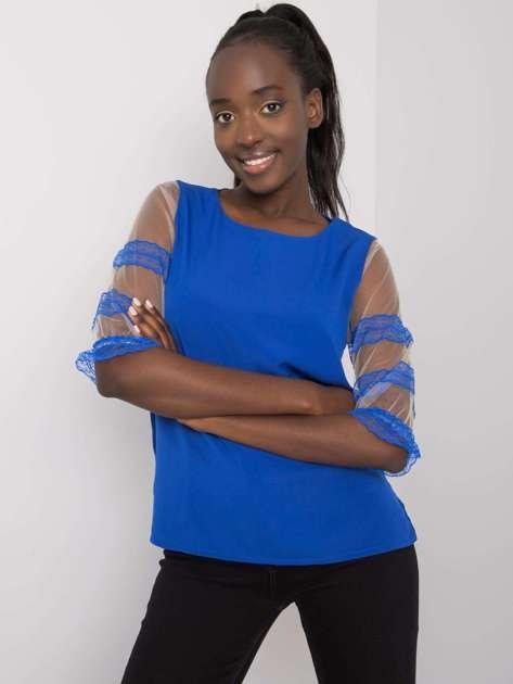 Kobaltowa bluzka z ozdobnymi rękawami Cora