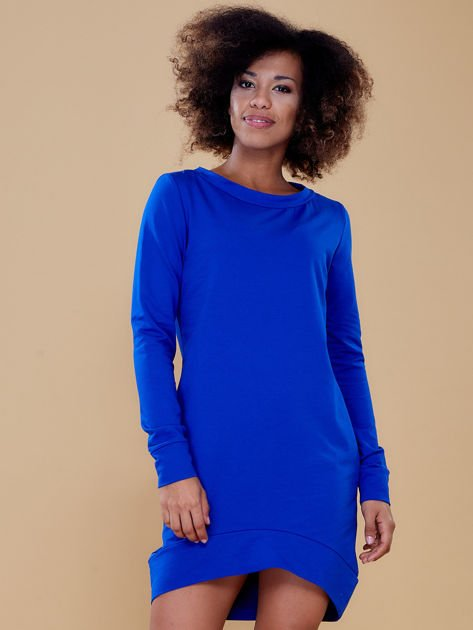 Kobaltowa dresowa tunika basic                              zdj.                              1