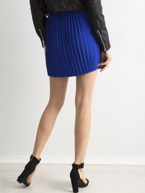 Kobaltowa plisowana spódnica z paskiem                              zdj.                              2