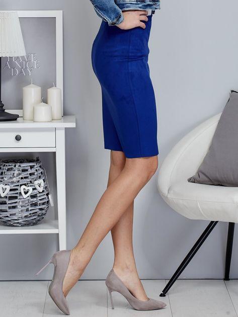 Kobaltowa spódnica z imitacji zamszu                              zdj.                              5