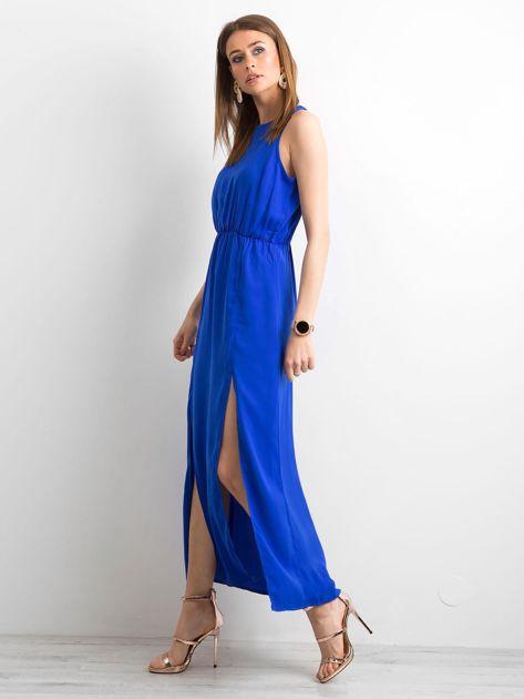 Kobaltowa sukienka maxi z rozcięciami                              zdj.                              3