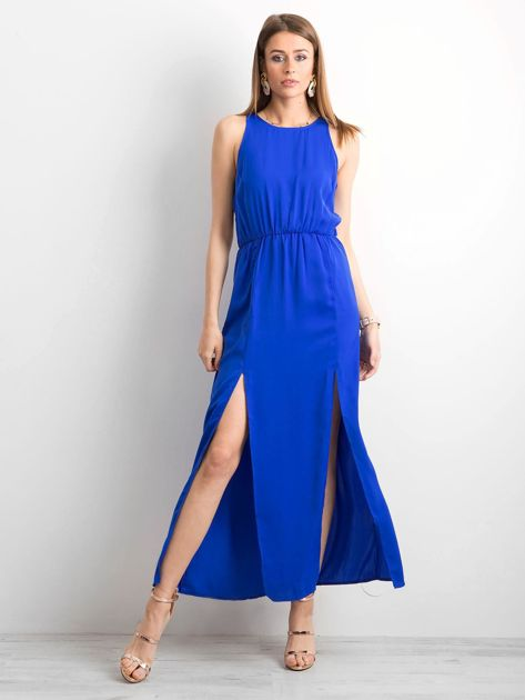 Kobaltowa sukienka maxi z rozcięciami                              zdj.                              4
