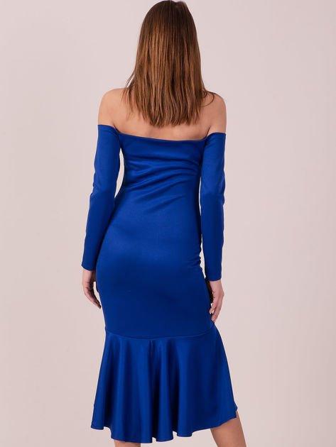 Kobaltowa sukienka z szeroką falbaną na dole                              zdj.                              3