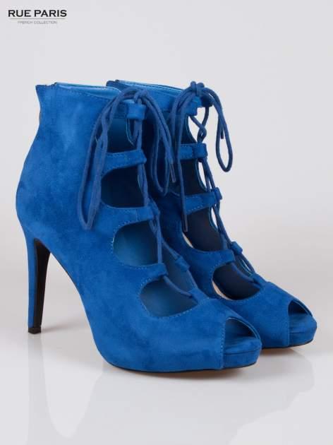 Kobaltowe sznurowane botki faux suede Kendall lace up open toe z zamkiem