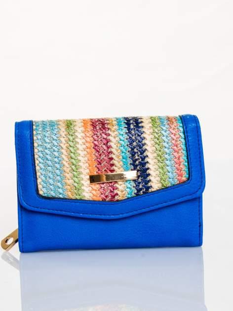Kobaltowy portfel z plecionką                                  zdj.                                  1