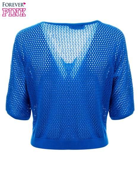 Kobaltowy siateczkowy sweter oversize                                  zdj.                                  6