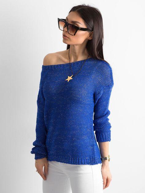 Kobaltowy sweter z metaliczną nicią                              zdj.                              3