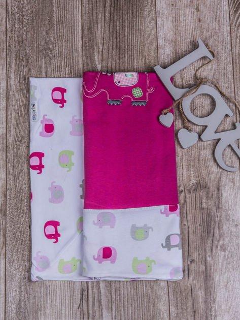 Kocyk niemowlęcy dla dziewczynki 100% bawełniany w słoniki 80x80 różowy                              zdj.                              1