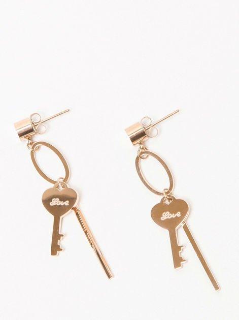 Kolczyki damskie wiszące z kluczykiem pozłacane 14-karatowym złotem