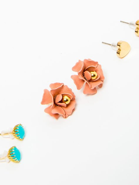 Kolczyki damskie złote zestaw 3 par róże, serduszka