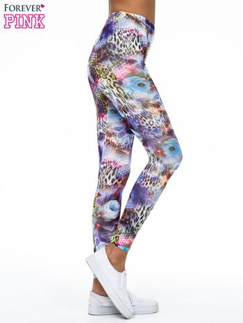 Kolorowe legginsy z kwiatowym nadrukiem                                   zdj.                                  3