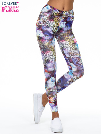 Kolorowe legginsy z lamparcim nadrukiem                                  zdj.                                  1