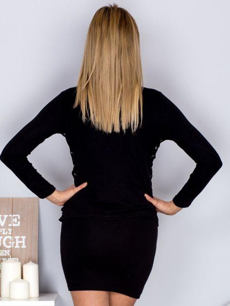 Komplet bluzka z długim rękawem i mini spódnica czarny                                  zdj.                                  2