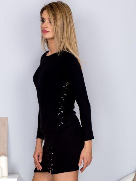 Komplet bluzka z długim rękawem i mini spódnica czarny                                  zdj.                                  5