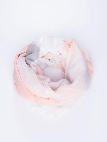 Koralowa bawełniana chusta damska duża w pasy