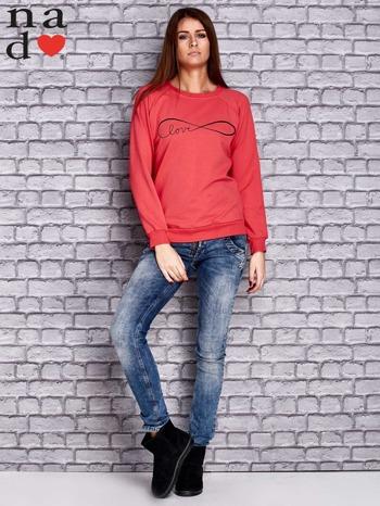 Koralowa bluza z napisem LOVE                                  zdj.                                  4