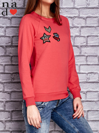 Koralowa bluza z naszywkami                                  zdj.                                  3