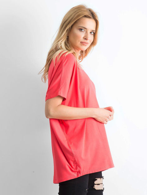 Koralowa bluzka Oversize                              zdj.                              3
