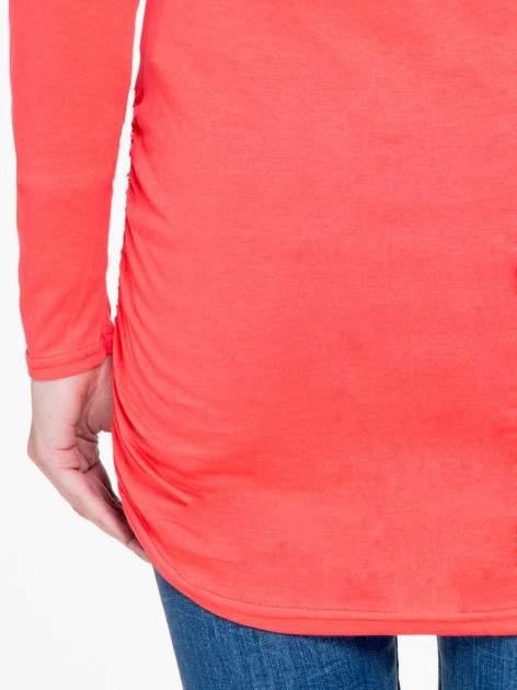 Koralowa bluzka tunika z marszczonym dołem                                  zdj.                                  8