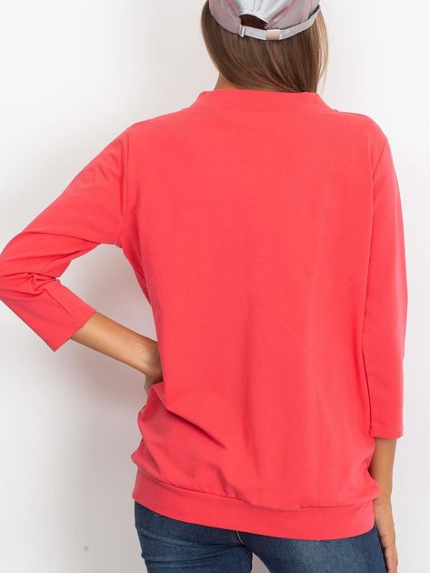 Koralowa dresowa bluza z aplikacją                              zdj.                              2