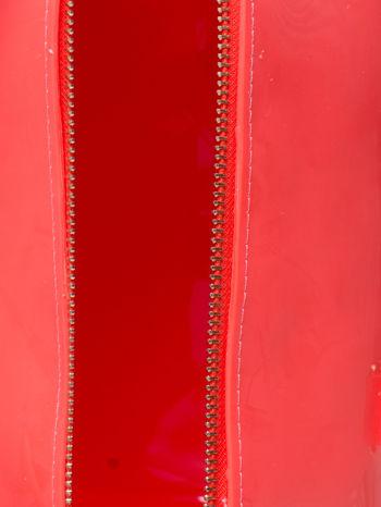 Koralowa lakierowana torba kuferek bowling                                  zdj.                                  3