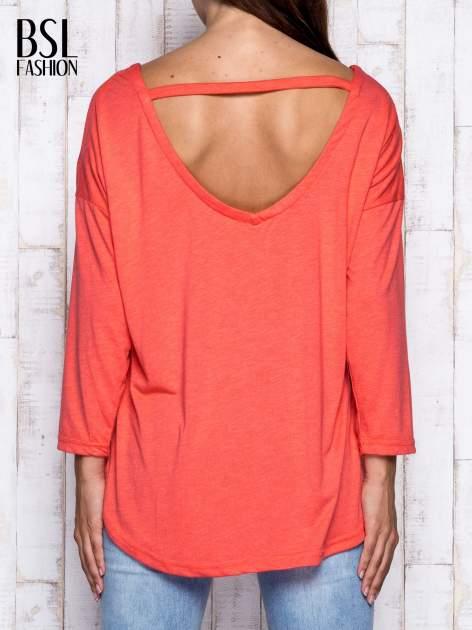 Koralowa melanżowa bluzka z dekoltem na plecach                                  zdj.                                  5