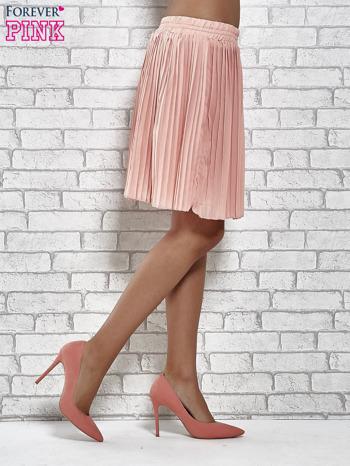 Koralowa plisowana spódnica do kolan                                  zdj.                                  4