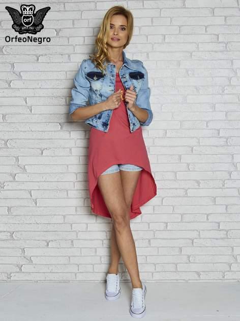 Koralowa sukienka z dłuższym tyłem i napisem SHAKE!                                  zdj.                                  2