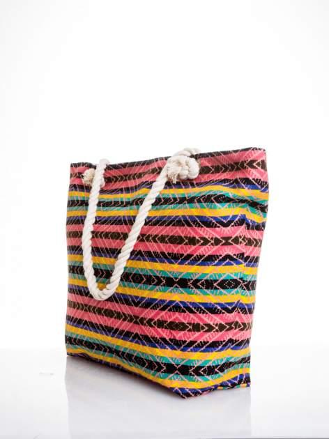 Koralowa torba plażowa w azteckie wzory                                  zdj.                                  4
