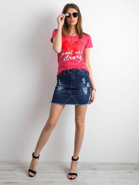 Koralowy damski t-shirt z bawełny                               zdj.                              4