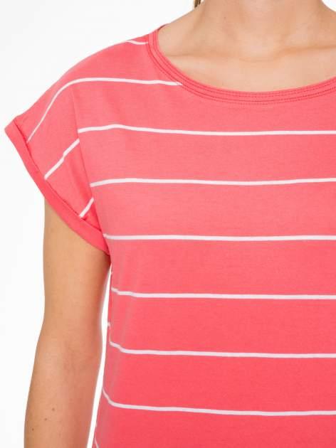 Koralowy t-shirt w paski                                   zdj.                                  5