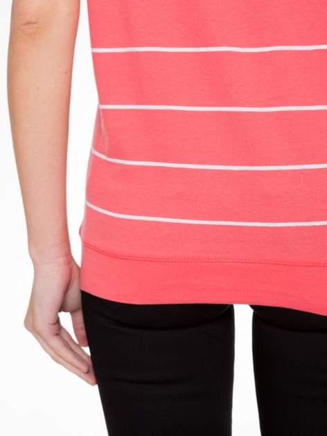 Koralowy t-shirt w paski                                   zdj.                                  9