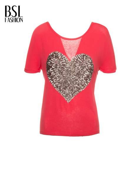 Koralowy t-shirt ze srebrnym sercem z cekinów                                  zdj.                                  2