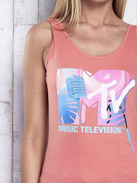 Koralowy top z nadrukiem MTV                                  zdj.                                  6